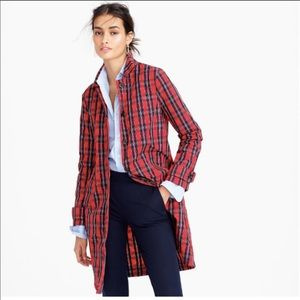 J.Crew Red Plaid Trench Coat in Nylon Size 4